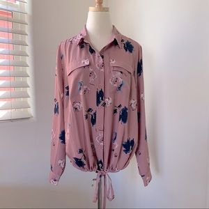 Belle Long Sleeve Tie Waist Button up Floral Top